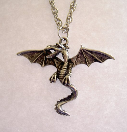 "WYVERN NECKLACE  TWO-LEGGED DRAGON 18"" CHAIN 42x34mm"