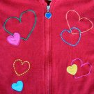 Girls Hearts VALENTINE Red Zip Up HOODIE Sweater 5 FAB