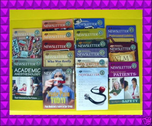 BIG LOT American ANESTHESIOLOGY ASA Newsletter Magazine Society Back Issues LUXE