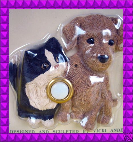 NEW Kitty CAT Brown Puppy DOG Door Bell DOORBELL Cover Illuminated Decorative