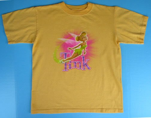 Girls Disney TINKERBELL Tinker Bell T-SHIRT M 7 8 10 12 Fairy Yellow Boxy Top