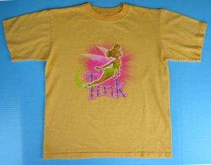 Girls Disney TINKERBELL Tinker Bell T-SHIRT M 7 8 10 12 Fairy Yellow Boxy Top