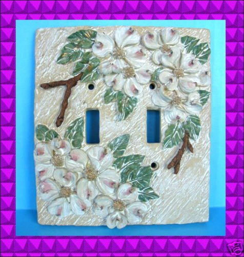 NEW Dogwood Flowers Light SWITCH PLATE Cover Double 3D Flowering Dog Wood Tree