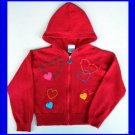 Girls Hearts VALENTINE Red Zip Up HOODIE Sweater 5 5T School Play Fine Knit Soft