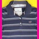 Stripe HOLLISTER California Polo SHIRT Junior M 7 8 TOP Medium Trendy Navy Basic