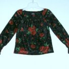Children's Place Girls Smocked Holiday Christmas Boho Top Crushed Velvet S 5 6