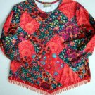 Juniors ARTSY TOP Shirt XL 13 14 Fringed Mock Patchwork Iridescent Beads Boho