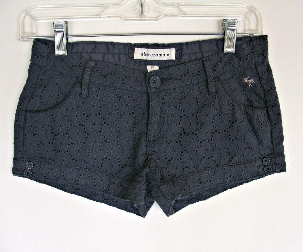 Girls Abercrombie Lace Shorts 12 Gray Low Rise High Cut Fashion Moose Eyelet Sun