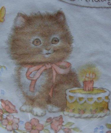 16 VINTAGE Paper Napkins CAT vtg Baby Kitten Kitty Birthday Cake Candle Fuzzy