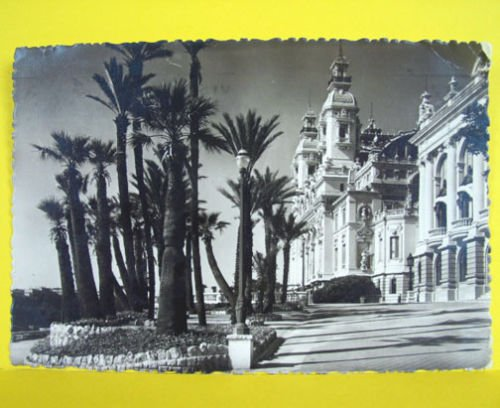 MONTE CARLO Monaco CASINO Vintage POSTCARD STAMP 1948 Building Photo Terasses