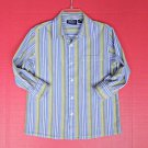 Boys Long Sleeve Button Down Dress Shirt M 10 12 Striped Cotton Blue Easter