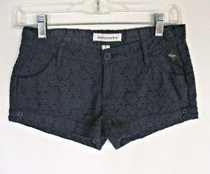 Abercrombie Gray Eyelet Lace Shorts Girls 12 Summer Coachella Low Rise Cotton