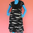 Kensie Animal Stripe Short Dress M 8 10 12 Layered Roomy A-Line Scoop Neck Work