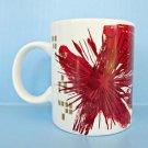 Starbucks Christmas Mug 2014 Red Gold Coffee Cup Holiday Starburst Atomic Art ✔