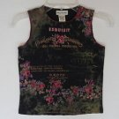 French County Floral Embellished Sleeveless Top Summer Shirt Girls M 10 12 Bling