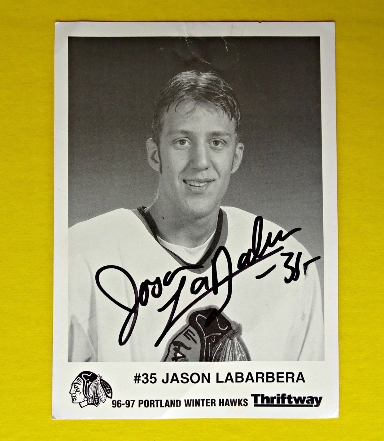 Jason Labarbera Portland WinterHawks Signed Photograph Photo Picture 1996 1997 �