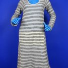 LaMade Striped Boucle Knit Dress L 12 14 16 La Made Long Sleeves Kangaroo Pocket