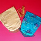 Lot Kimono Drawstring Bags Asian Vintage Gold Turquoise Dragon Flowers Beaded