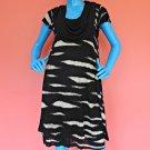 Kensie Cowl Neck T Shirt Dress Womens M 8 10 12 Animal Print Drape Overlay Tier