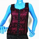 Sylvie & Mado Black Lace Sleeveless Top Blouse S 6 8 Fitted Pink Lining Spandex