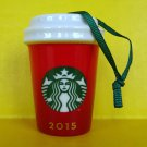 2015 Starbucks Ceramic Christmas Mug Ornament Holiday Blank Red Coffee Cup New