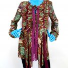 LaRok Semi Sheer Bohemian Gypsy Tunic Top Blouse M 8 10 12 Chiffon Lace Ornate