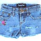 Girls Destroyed Denim Mini Shorts Jeans 7 M Stretch Spandex Blue Squeeze