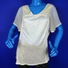 Lucky Brand White Burnout Organza Peasant Top Shirt XL 14 16 Beaded Whipstitched
