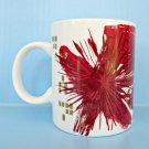 Starbucks Christmas Mug 2014 Red Gold Coffee Cup Holiday Starburst Atomic Art