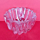 Heavy Thick Lead Crystal Glass Bowl Ribbed Centerpiece Clear Candy Nuts Dish