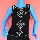 Forever 21 Black Gauze iKat Embroidered Top Blouse S 4 6 8 Sleeveless Keyhole