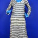 LaMade Striped Boucle Knit Dress L 12 14 16 La Made Long Sleeves Modest Midi