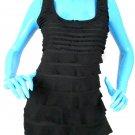 Max Studio Black Ruffle Layered Sleeveless Tunic Top M 8 10 Slimming Stretch