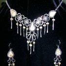Silver and precious stone necklace