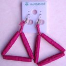 Free Shipping! Polymer Clay Handcrafted Pink Bead Triangle Earrings