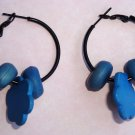 Free Shipping! Handcrafted Polymer Clay Blue Bead Hoop Earrings