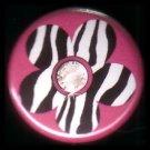 "1"" Inch Zebra Print Flower on Hot Pink Background Punk Princess Button Badge Pin - 0750"