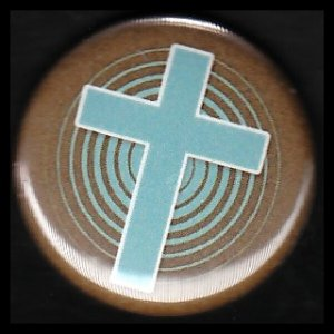 Turquoise Cross on Brown Background, One Inch Religious Button Badge Pin - 1133