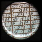 Christian in Turquoise on Brown Background, One Inch Religious Button Badge Pin - 1139