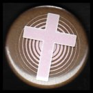 Pink Cross on Brown Background, One Inch Religious Button Badge Pin - 1141