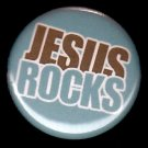 Jesus Rocks on Turquoise Background, One Inch Religious Button Badge Pin - 1168