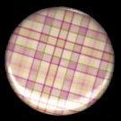 Pretty in Plaid in Pink and Yellow, 1 Inch Pin Back Button Badge  - 1054