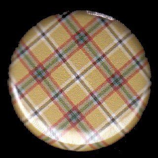 Pretty in Plaid in Gold and Green, 1 Inch Pin Back Button Badge  - 1056
