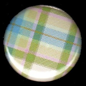 Pretty in Plaid in Green and Blue, 1 Inch Pin Back Button Badge  - 1059