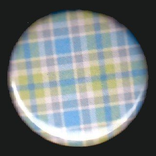 Pretty in Plaid in Green Blue and White, 1 Inch Pin Back Button Badge  - 1065