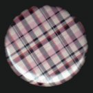 Pretty in Plaid in Navy and Pink, 1 Inch Pin Back Button Badge  - 1067