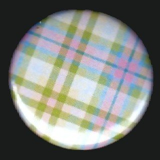 Pretty in Plaid in Pink Blue and Green, 1 Inch Pin Back Button Badge  - 1071