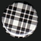 Pretty in Plaid in Black and White, 1 Inch Pin Back Button Badge  - 1073