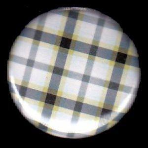 Pretty in Plaid in Shades of Black White and Yellow, I Inch Button Badge Pin - 1083