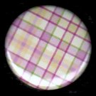 Pretty in Plaid in Yellow and Pink, 1 Inch Button Badge Pin  - 1094